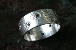 Project 4 pierced and hammered ring by Laina Nulukie